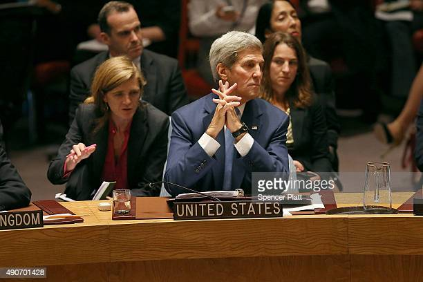 Secretary of State John Kerry attends a Security Council meeting on counter terrorism at the United Nations on September 30 2015 in New York City The...