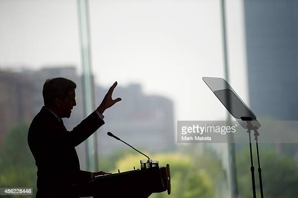 S Secretary of State John Kerry delivers a speech on the nuclear agreement with Iran at the National Constitution Center September 2 2015 in...