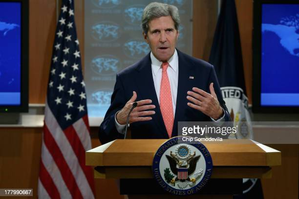 S Secretary of State John Kerry delivers a statement about the use of chemical weapons in Syria at the Department of State August 26 2013 in...