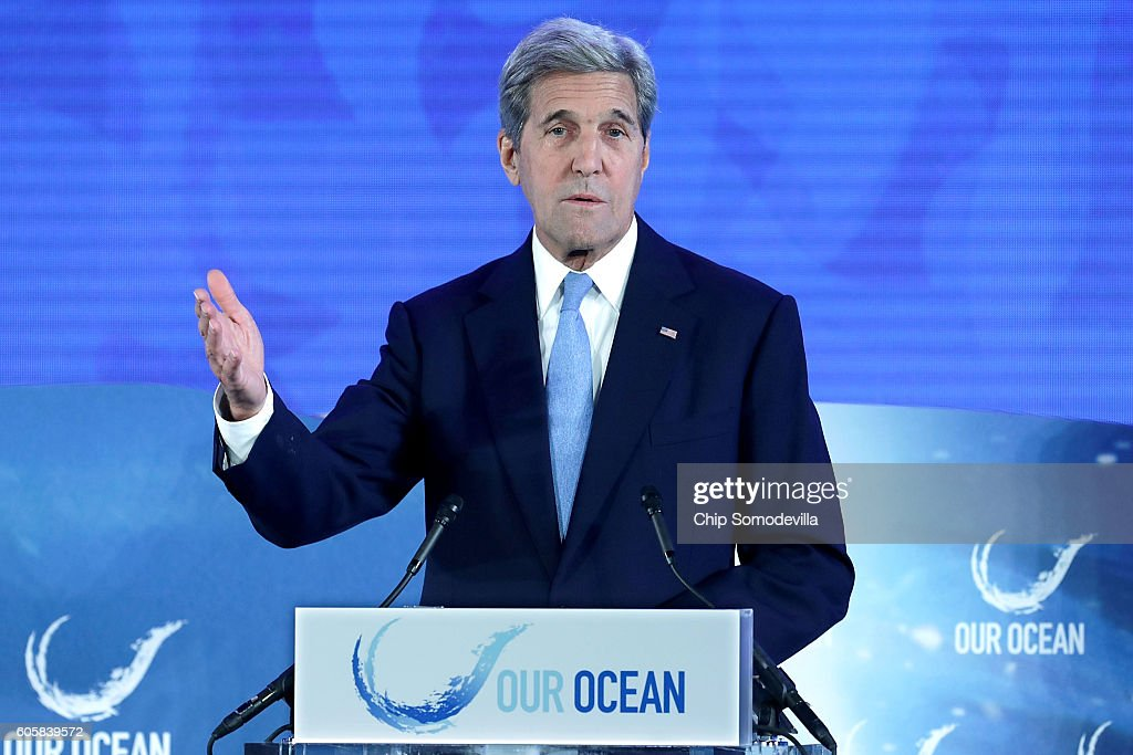 U.S. Secretary of State John Kerry delivers opening remarks at the Our Oceans conference at the State Department's Harry S. Truman building September 15, 2016 in Washington, DC. According to the State Department, the conference will bring scientists, political leaders and advocates together to focus on 'key ocean issues of our time, marine protected areas, sustainable fisheries, marine pollution, and climate-related impacts on the ocean.'