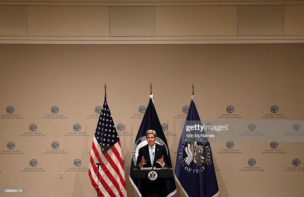 U.S. Secretary of State John Kerry delivers remarks at the United States Institute of Peace November 12, 2015 in Washington, DC. Kerry spoke on U.S. strategy in Syria during his remarks.
