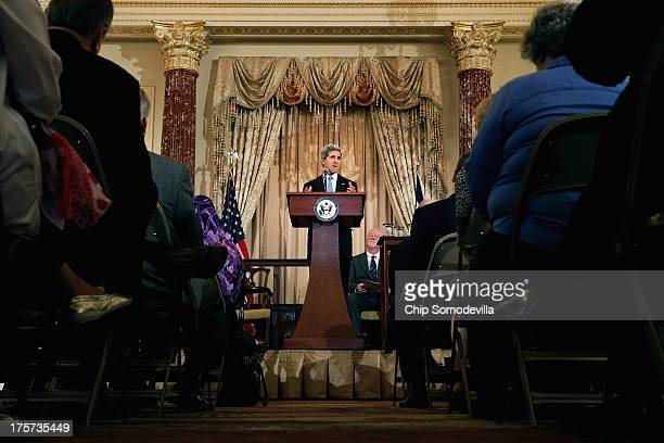 S Secretary of State John Kerry delivers remarks during an event to introduce Shaun Casey as the head of the new State Department Office of...