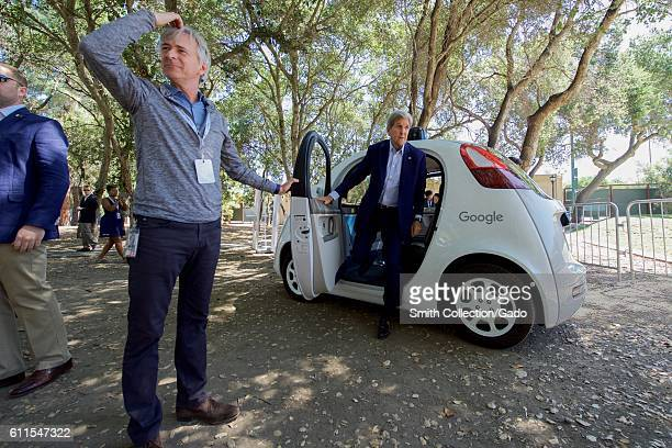 US Secretary of State John Kerry exiting a Google selfdriving car Palo Alto California June 23 2016 Image courtesy US Department of State