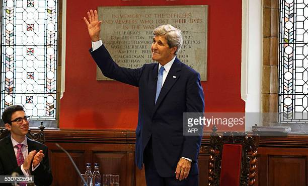 US Secretary of State John Kerry gestures after speaking at the Oxford Union in Oxford central England on May 11 2016 John Kerry will be representing...