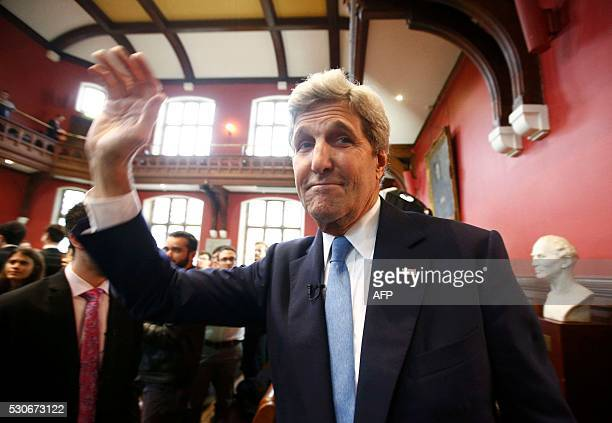 US Secretary of State John Kerry gestures as he leaves after speaking at the Oxford Union in Oxford central England on May 11 2016 John Kerry will be...