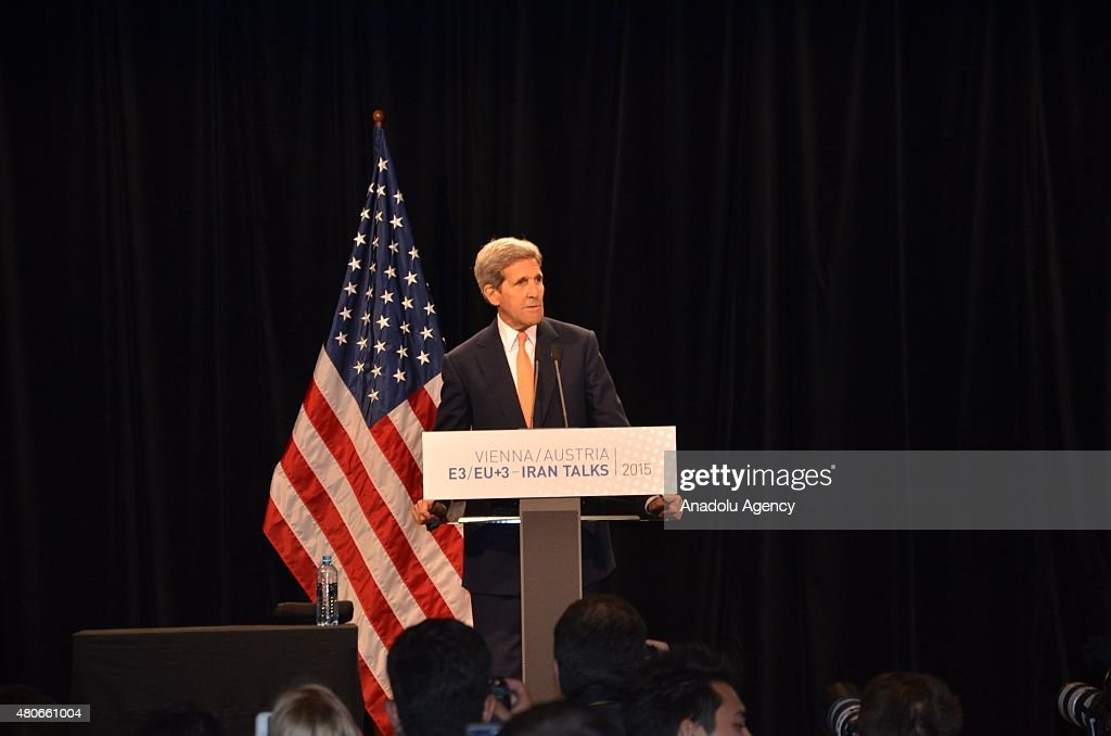 US Secretary of State John Kerry gives a speech during a press conference after the Iran nuclear talk meetings concluded with a deal in Vienna, Austria on July 14, 2015.