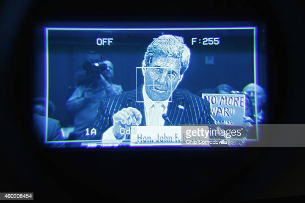 Secretary of State John Kerry is seen through a television camera viewfinder as he testifies about a congressional Authorization for the Use of...