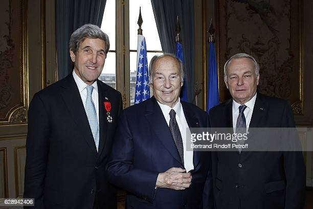 S Secretary of State John Kerry Karim Aga Khan and JeanMarc Ayrault attend the ceremony for John Kerry being decorated 'Grand Officier de la Legion...
