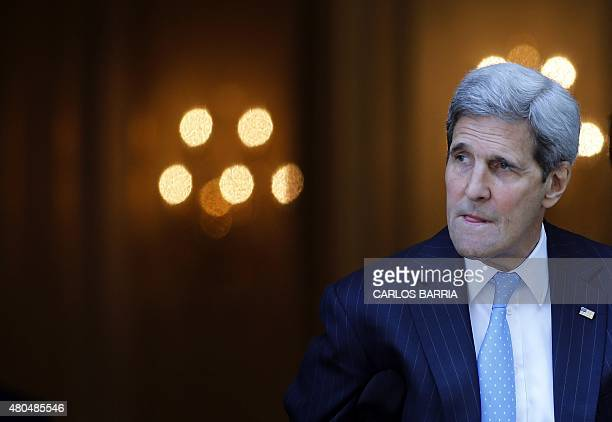 US Secretary of State John Kerry leaves his hotel on the way to mass at the St Stephen's Cathedral in Vienna Austria July 12 2015 where the Iran...
