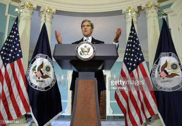 S Secretary of State John Kerry makes a statement at the State Department August 30 2013 in Washington DC Kerry spoke on the current situation in...