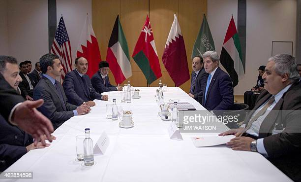 Secretary of State John Kerry meets with Bahraini Foreign Minister Sheikh Khaled bin Ahmed Al Khalifa , Qatar Foreign Minister Khalid bin Mohammad...