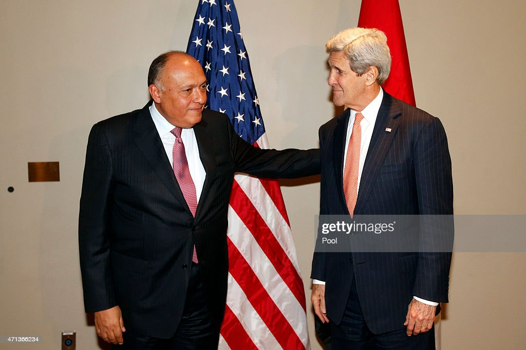 U.S. Secretary of State John Kerry (R) meets with Egyptian Foreign Minister Sameh Shoukry at United Nations headquarters April 27, 2015 In New York City. Kerry is at the UN to attend the U.N. anti-nuclear arms conference.