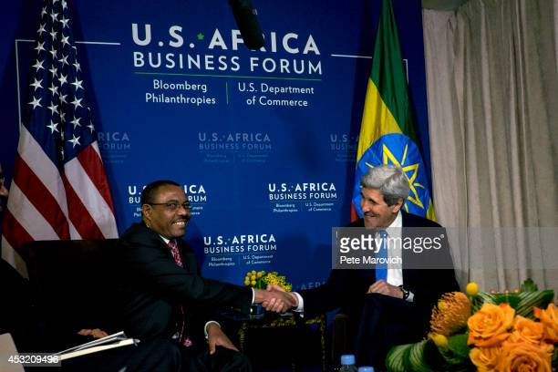 S Secretary of State John Kerry meets with Ethiopian Prime Minister Hailemariam Desalegn at the Mandarin Oriental Hotel as part of the first USAfrica...
