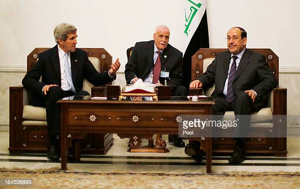 S Secretary of State John Kerry meets with Iraq's Prime Minister Nouri alMaliki on March 24 2013 in Baghdad According to a US official Kerry will...