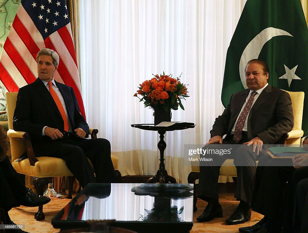 US Secretary of State John Kerry meets with Pakistani Prime Minister Nawaz Sharif on October 21, 2015 in Washington, DC. The two diplomats participated in a bi-lateral meeting at the Blair House.