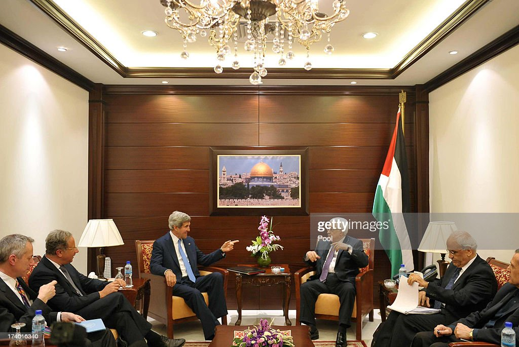 U.S. Secretary of State John Kerry meets with Palestinian President Mahmud Abbas at the Mukataa compound on July 19, 2013 in Ramallah, West Bank. Kerry flew by helicopter to the West Bank from Jordan to meet Palestinian president Mahmud Abbas as he battled to salvage his Middle East peace bid.