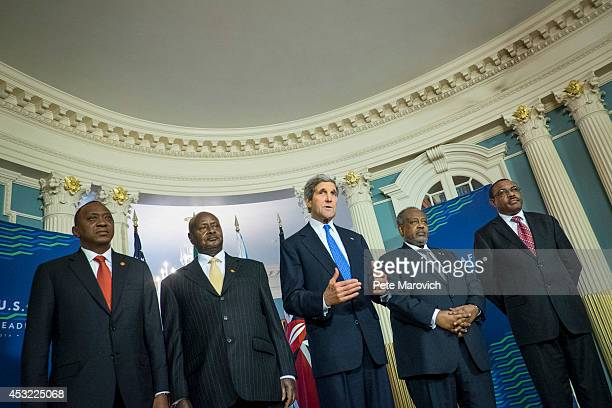 S Secretary of State John Kerry meets with regional heads of African delegations to discuss the situation in South Sudan at the Department of State...