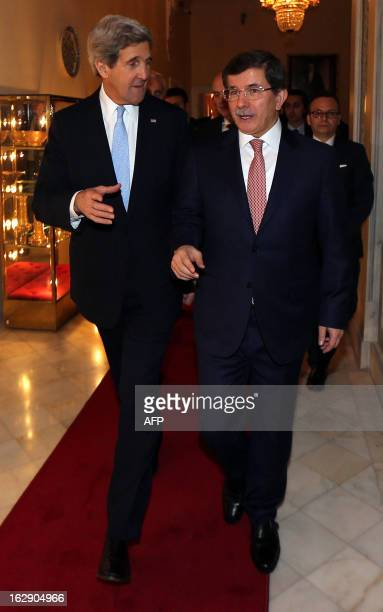 US Secretary of State John Kerry meets with Turkish Foreign Minister Ahmet Davutoglu at the Ankara Palace Turkey on March 1 2013 Ankara is the fifth...