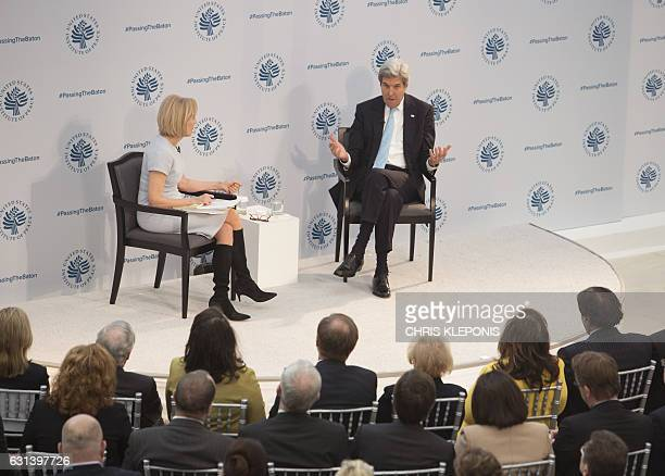 US Secretary of State John Kerry participates in a conference with Judy Woodruff Anchor Managing Editor PBS NewsHour on the transition of the US...