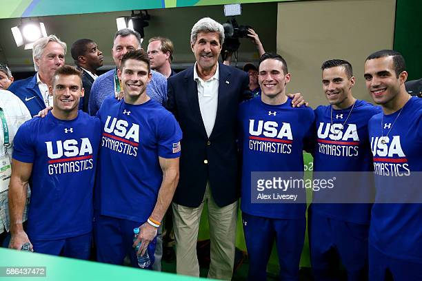 S Secretary of State John Kerry poses with the US men's artistic gymnastics team Jacob Dalton Christopher Brooks Alexander Naddour Samuel Mikulak and...