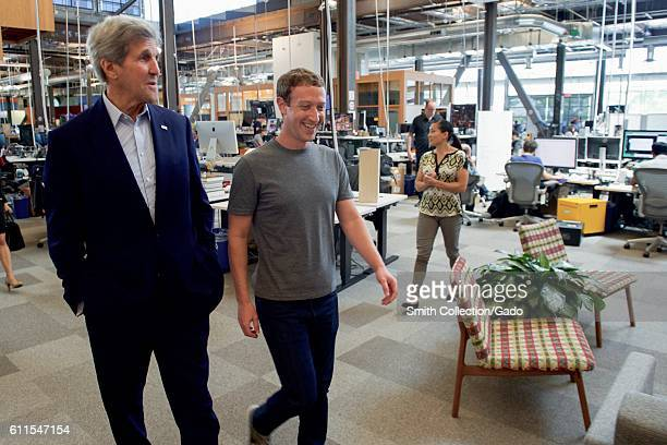 US Secretary of State John Kerry receiving a tour of Facebook headquarters from founder Mark Zuckerberg Menlo Park California June 23 2016 Image...