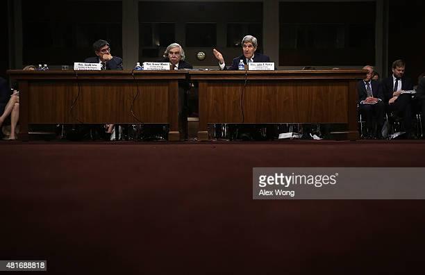 US Secretary of State John Kerry Secretary of Energy Ernest Moniz and Secretary of the Treasury Jacob Lew testify during a hearing before the Senate...