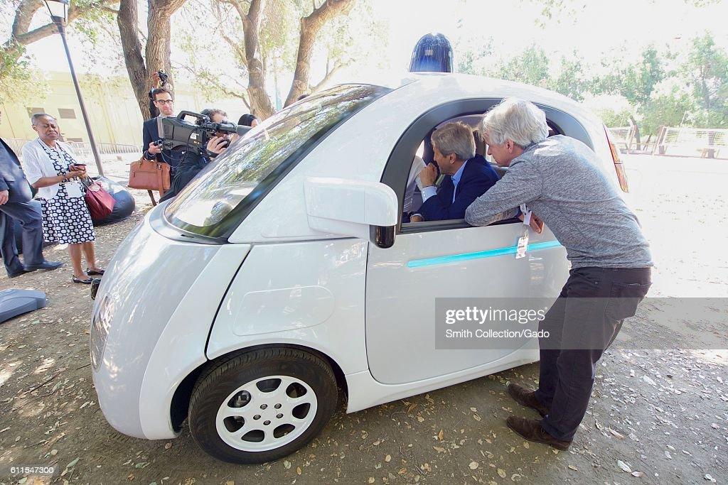 John Kerry In Driverless Car : News Photo