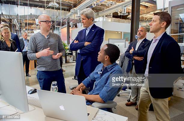 US Secretary of State John Kerry speaking with developers at Facebook headquarters Menlo Park California June 23 2016 Image courtesy US Department of...