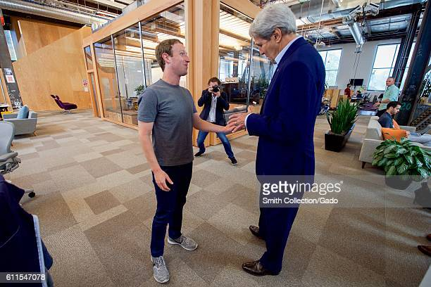 US Secretary of State John Kerry speaking with Facebook CEO Mark Zuckerberg Menlo Park California June 23 2016 Image courtesy US Department of State