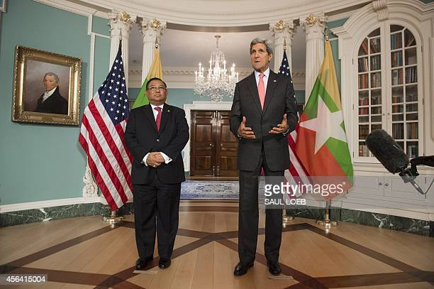 US Secretary of State John Kerry speaks alongside Wunna Maung Lwin Minister for Foreign Affairs for Myanmar prior to meetings at the US State...