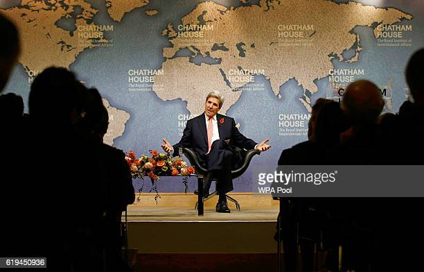 S Secretary of State John Kerry speaks at Chatham House after attending the Libya Ministerial meeting at the Foreign and Commonwealth Office on...