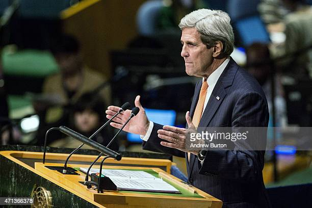 S Secretary of State John Kerry speaks at the 2015 Review Conference of the Parties to the Treaty on the NonProliferation of Nuclear Weapons on April...