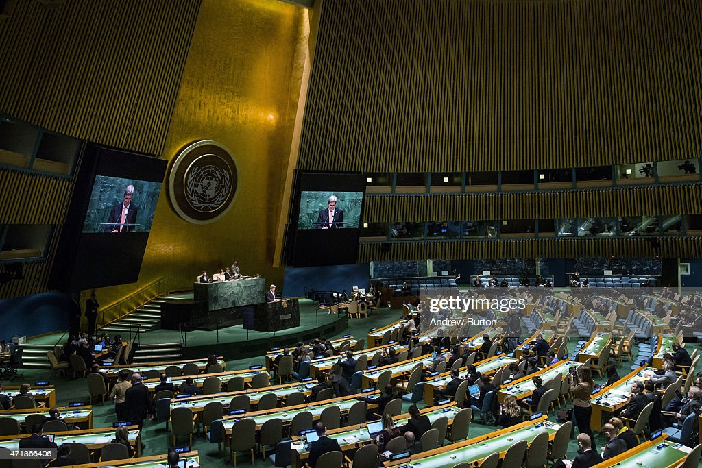 U.S. Secretary of State John Kerry speaks at the 2015 Review Conference of the Parties to the Treaty on the Non-Proliferation of Nuclear Weapons on April 27, 2015 in New York City. The international conference, which is particularly important this year as western countries try to reach a nuclear deal with Iran, is held at the United Nations.