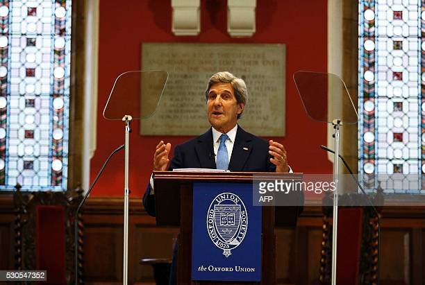 US Secretary of State John Kerry speaks at the Oxford Union in Oxford central England on May 11 2016 John Kerry will be representing the United...