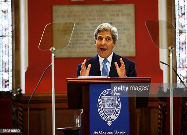 S Secretary of State John Kerry speaks at the Oxford Union May 11 2016 in Oxford England According to reports Kerry plans to meet with senior...