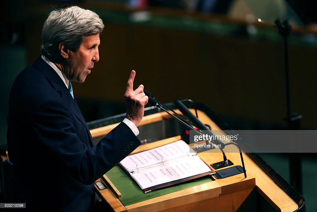 U.S. Secretary of State John Kerry speaks at the United Nations Signing Ceremony for the Paris Agreement climate change accord that came out of negotiations at the COP21 climate summit last December in Paris on April 22, 2016 in New York City. At least 155 countries are expected to sign the agreement whicch has the goal of limiting warming to 'well below' 2 degrees Celsius above preindustrial levels. The ceremony symbolically takes place on Earth Day.