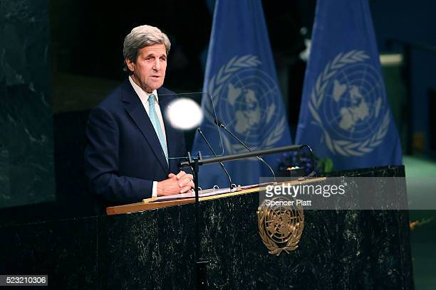 S Secretary of State John Kerry speaks at the United Nations Signing Ceremony for the Paris Agreement climate change accord that came out of...