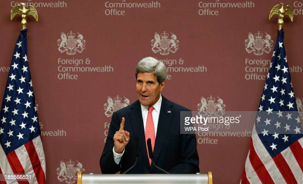 Secretary of State John Kerry speaks during a news conference at the Foreign and Commonwealth Office on October 22 2013 in London England John Kerry...