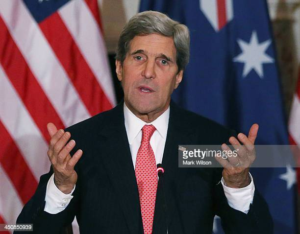 Secretary of State John Kerry speaks during a news conference at the State Department, on November 20, 2013 in Washington, DC. Secretary Kerry and...