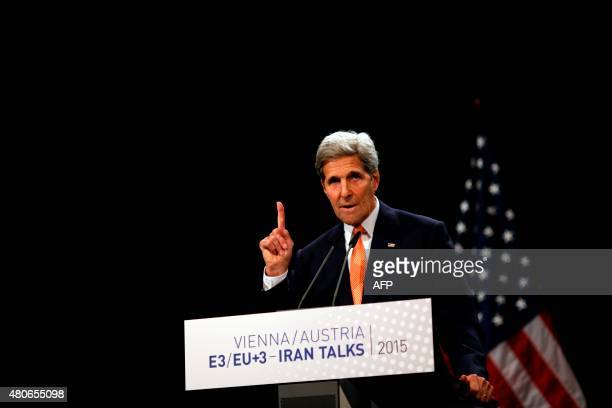 US Secretary of State John Kerry speaks during a press conference of Iran nuclear talks at Austria International Centre in Vienna Austria on July 14...