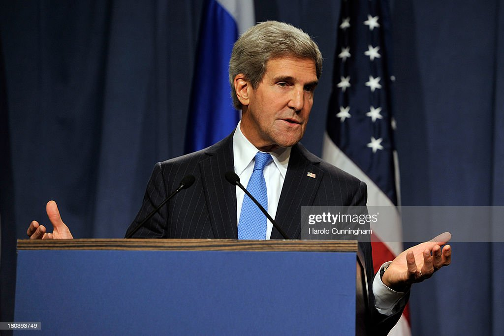US Secretary of State John Kerry speaks during a press conference with Russian Foreign Minister Sergey Lavrov at the Hotel Intercontinental on September 12, 2013 in Geneva, Switzerland. The leaders met to discuss chemical weapons in Syria in working towards assisting a U.N. Security Council resolution.