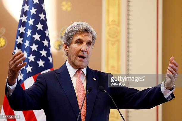 Secretary of State John Kerry speaks during a press conference with Britain's Foreign Secretary Boris Johnson at the Foreign and Commonwealth Office...