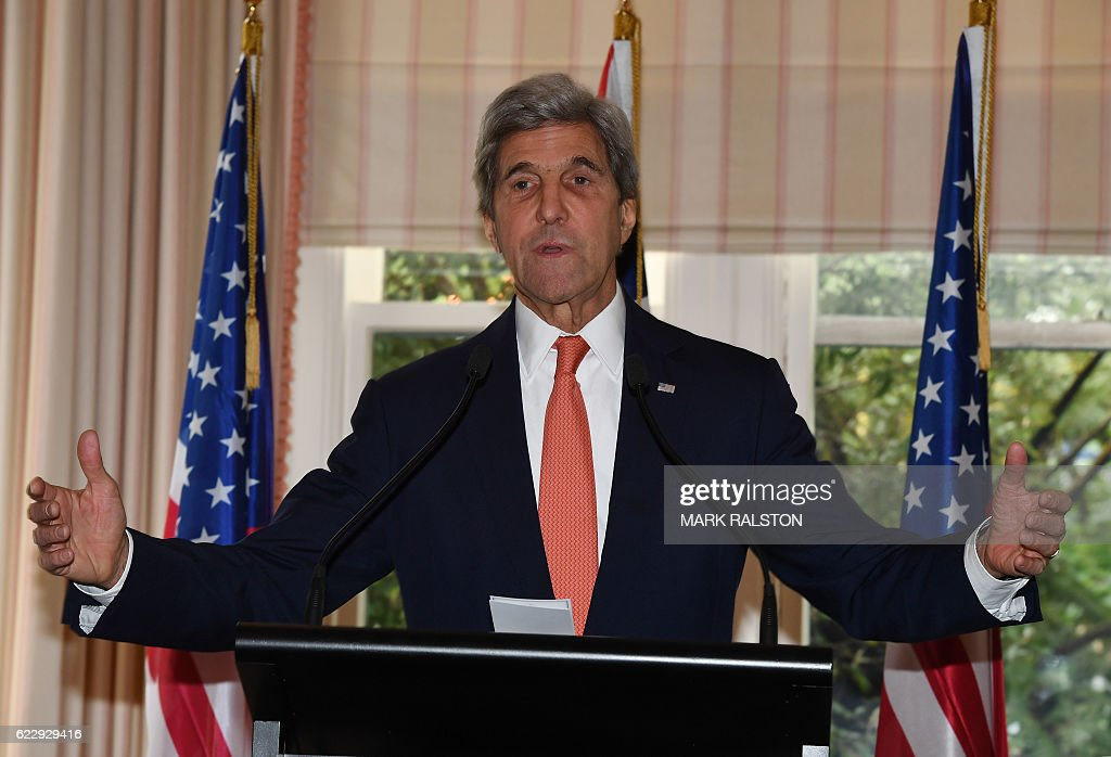 US Secretary of State John Kerry speaks during a press conference with New Zealand Prime Minister John Key (out of frame) at Premier House in Wellington, New Zealand on November 13, 2016. Kerry is travelling to New Zealand, Oman, the United Arab Emirates, Morocco and will attend the APEC summit in Peru later in the month. / AFP / AFP AND POOL / Mark RALSTON