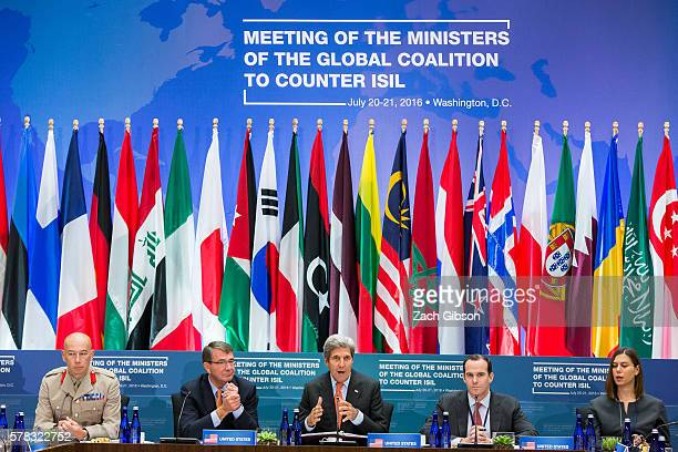 S Secretary of State John Kerry speaks during an antiISIL coalition summit at The State Department on July 21 2016 in Washington DC Secretaries Kerry...