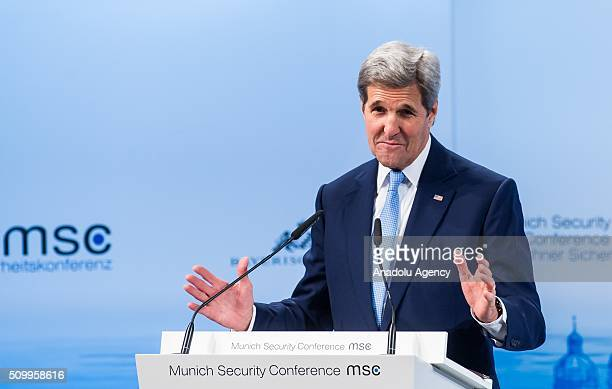 S Secretary of State John Kerry speaks during the 2016 Munich Security Conference at the Bayerischer Hof hotel on February 13 2016 in Munich Germany...