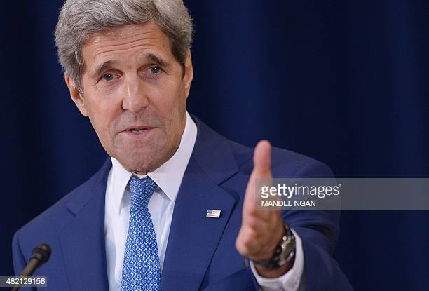 US Secretary of State John Kerry speaks during the release of the 2015 Trafficking in Persons Report' on July 27 2015 at the State Department in...