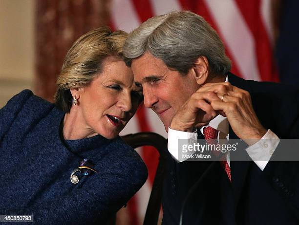 Secretary of State John Kerry , speaks with Australian Foreign Minister Julie Bishop during a news conference at the State Department, on November...