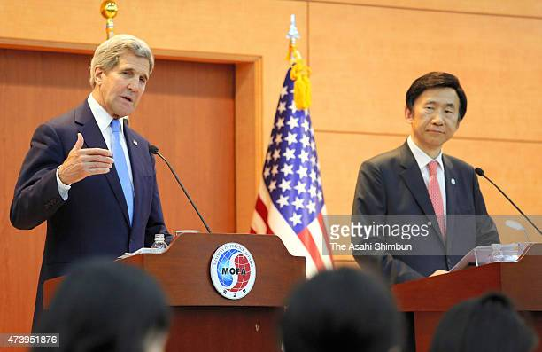 US Secretary of State John Kerry speaks with South Korean Foreign Minister Yun ByungSe during a joint press conference after their meeting at the...