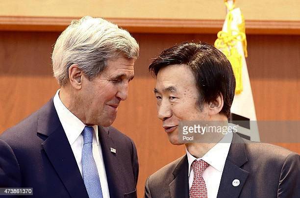 Secretary of State John Kerry talks with South Korean Foreign Minister Yun Byung-Se after a joint press conference at the Ministry of Foreign Affairs...