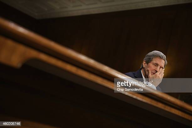 Secretary of State John Kerry testifies about a congressional Authorization for the Use of Military Force against the Islamic State, the violent...